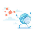 viral panic of planet earth mascot running vector image vector image