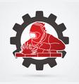 welding with sparks welder working on big gear vector image vector image