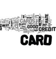 what makes a good credit card text word cloud vector image vector image