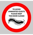 Sticker with Warning sign insect icon centipede vector image