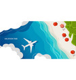 airplane lands on a tropical island top view vector image