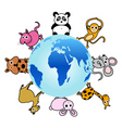 animal around the globe vector image
