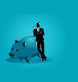 banker leaning on giant piggy bank vector image vector image