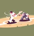 batter strikes ball in baseball vector image