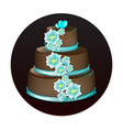 big delicious chocolate cake vector image vector image