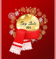 big winter sale 50 percent off poster snowflakes vector image