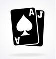 blackjack cards ace jack spades vector image