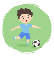 boy playing football soccer cartoon vector image vector image
