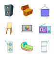cabinet furniture icons set cartoon style vector image vector image