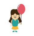 cartoon little girl young holding balloon vector image vector image