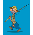 cartoon smiling man walks with a fishing rod vector image vector image