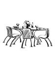 chair and table with drink and dishes on it vector image