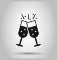 champagne glass icon in flat style alcohol drink vector image vector image
