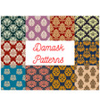 damask seamless pattern set with floral ornament vector image vector image