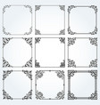 decorative frames and borders square set vector image vector image