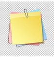 different colored sheets of note papers collection vector image vector image