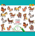 find one of a kind with horse animal characters vector image vector image