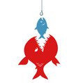 fishes and hook vector image vector image