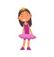 girl wearing ballerina costume and crown cute kid vector image vector image