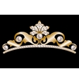 Gold tiara with pearls vector image vector image