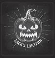 halloween chalk drawing pumpkin jack lantern vector image
