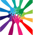 hands together forming a team vector image vector image
