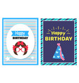 happy birthday set of cards vector image vector image