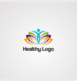 healthy logo icon element template for company vector image vector image