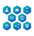 hexagon contact communication icons for business vector image vector image