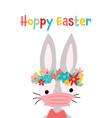 hoppy easter bunny coronavirus card vector image vector image