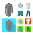 isolated object of man and clothing symbol set of vector image