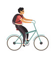 man riding bicycle simple character cyclist guy vector image
