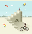 man up the stairs with flag one with bicycle and vector image vector image