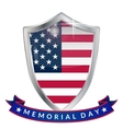 Memorial Day silver shield and ribbon with the vector image