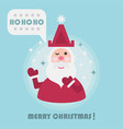 merry christmas holiday card with cute santa and vector image