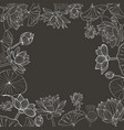 monochromehand drawn floral frame vector image vector image