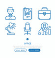 office thin line icons set vector image vector image