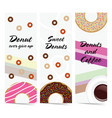 poster of donuts sweet and fresh set vector image vector image