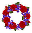 red rose and iris flower wreath vector image vector image