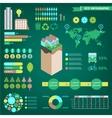 set eco infographics world map charts vector image