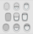 set isolated airplane or plane window vector image vector image