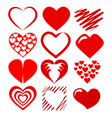 set red heart symbol icon for love and vector image vector image