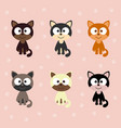 set with cats and paws vector image