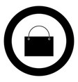 shopping bag icon black color in circle vector image vector image