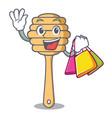 shopping honey spoon character cartoon vector image