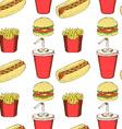 Sketch fast food in vintage style