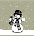 snowman with a scarf and hat holding a gift bag vector image vector image