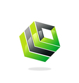 square 3D building box logo vector image vector image