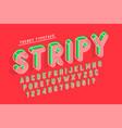 striped 3d display font popart design alphabet vector image