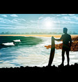 surf silhouettes on the beach vector image vector image